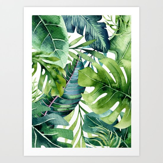 Tropical Jungle Leaves by amypetersonartstudio