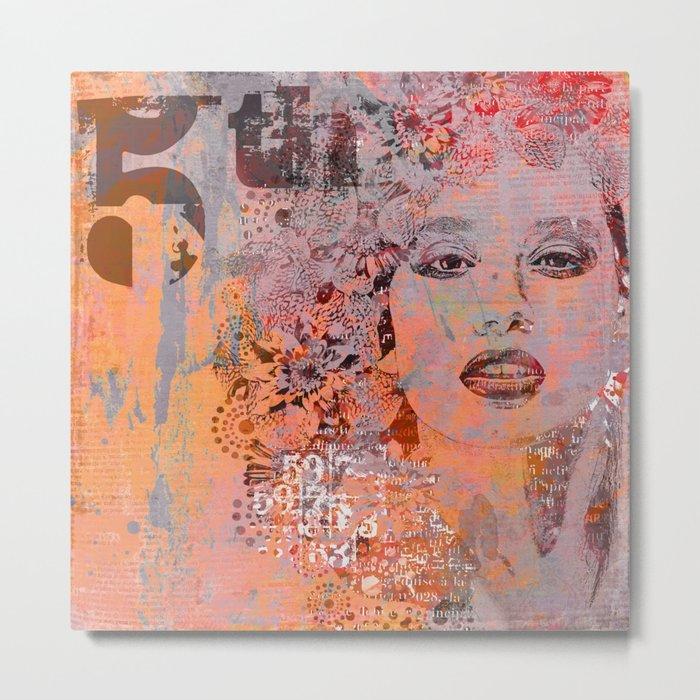 Wild Woman modern face mixed media art orange Metal Print