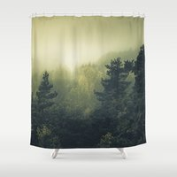 sleep Shower Curtains featuring Forests never sleep by HappyMelvin
