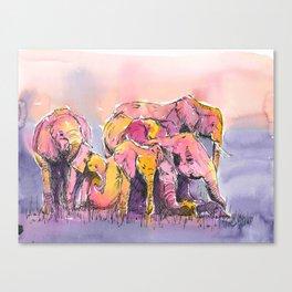 Herd of Elephants Canvas Print