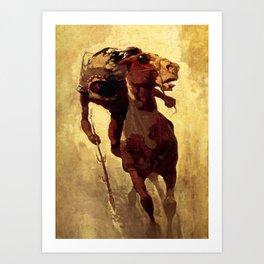 """N C Wyeth Vintage Western Painting """"Indian Lance"""" Art Print"""