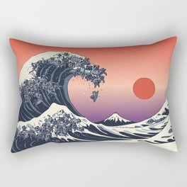 The Great Wave of Black Pug Rectangular Pillow