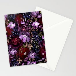Deep Floral Chaos Stationery Cards