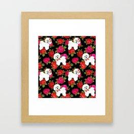 Bichon Frise dogs red rose floral for dog lovers Framed Art Print