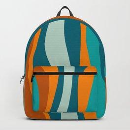 Liquid Stripes in Rust Orange Aqua Turquoise Teal  Backpack