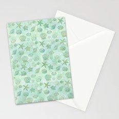 Gold Aqua Mint Watercolor Sea Shells Stationery Cards
