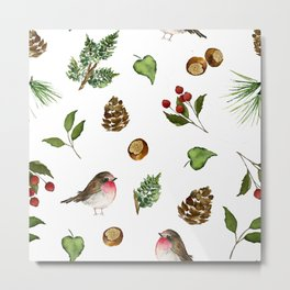 Feathered Winter Friend Metal Print