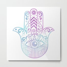 Hamsa Hand Purple and Blue Watercolor Metal Print