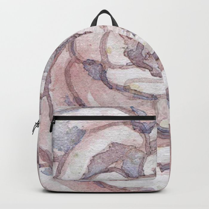 Watercolor taupe blush succulent Backpack