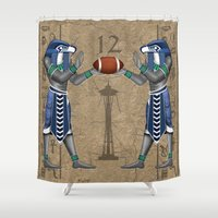 seahawks Shower Curtains featuring Seahawk Pharoah by Dreamstate Design