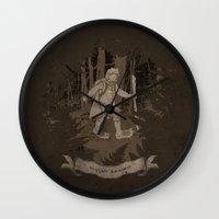 bigfoot Wall Clocks featuring Bigfoot Baggins by jerbing