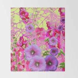CONTEMPORARY PINK & LILAC HOLLYHOCKS ART Throw Blanket