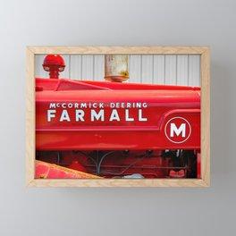 Vintage Red Antique Farmall M Tractor Farming Country Nostalgia  Framed Mini Art Print