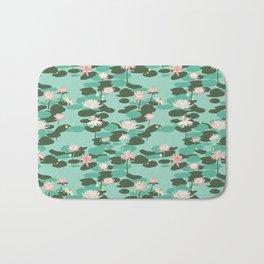 Waterlily pattern in Mint Bath Mat