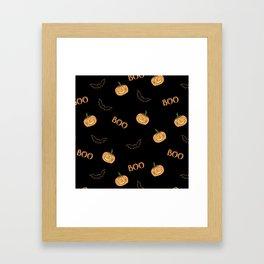 Halloween bat and pumpkin Framed Art Print