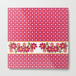 Crimson floral pattern . Metal Print