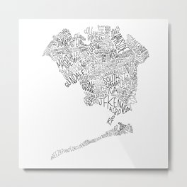 Queens - Hand Lettered Map Metal Print