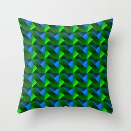Pyramids of bright light blue. squares and triangles in blue. Throw Pillow