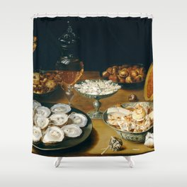 Osias Beert the Elder Dishes with Oysters, Fruit, and Wine Shower Curtain