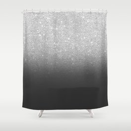 Modern faux silver glitter ombre grey black color block Shower Curtain