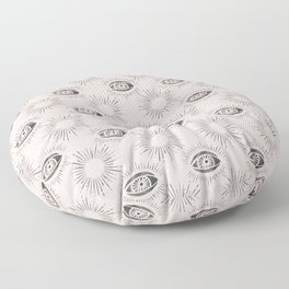 Sun and Eye of wisdom pattern - Pink & Black - Mix & Match with Simplicity of Life Floor Pillow