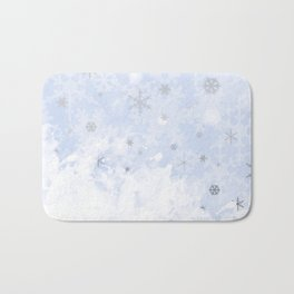Silver snowflakes on blue Bath Mat
