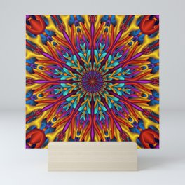 Amazing colors 3D mandala Mini Art Print