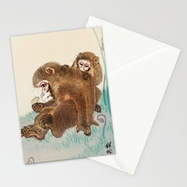 Two monkeys and butterfly - Vintage Japanese Woodblock Print Art  Stationery Cards