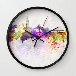 Seville skyline in watercolor background Wall Clock