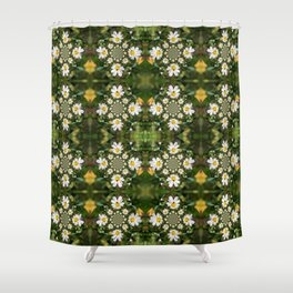 Magic Field Summer Grass - Chamomile Flower with Bug - Polarity #1 Shower Curtain