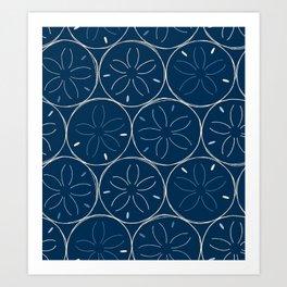 Sanddollar Pattern in Blue Art Print