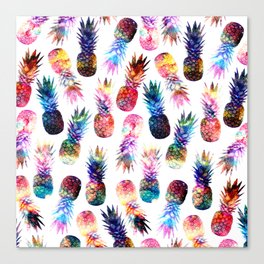 watercolor and nebula pineapples illustration pattern Canvas Print