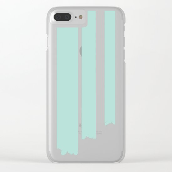 Soft cyan stripes on concrete Clear iPhone Case