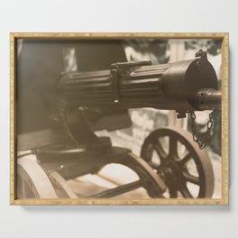Old machine Gun. Maxim gun. First World War Machine gun. Serving Tray