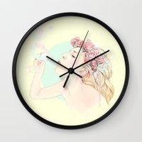 bubbles Wall Clocks featuring Bubbles by Ariana Perez