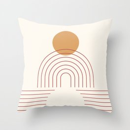 Geometric Lines in Terracotta Gold Beige 5 (Sun and Rainbow) Throw Pillow