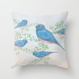 """ Bluebirds "" Throw Pillow"