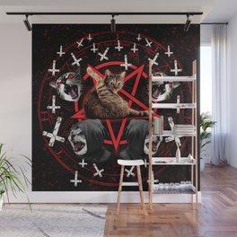 satanic cat pentagram death black metal band exorcist Wall Mural