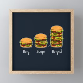 Burger explained 2. Burg. Burger. Burgest. Framed Mini Art Print