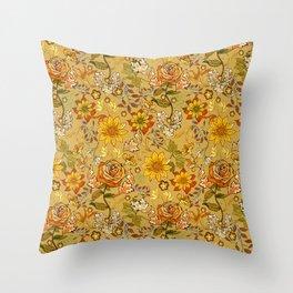 Rose vintage inpsired retro, warm colors 70s, boho Throw Pillow