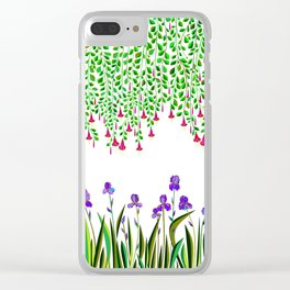 A Colorful Garden of Iris and Trumpets, Hanging Garden Clear iPhone Case