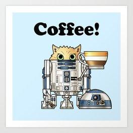 Coffee R2 Cat Art Print