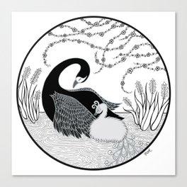 Black Swan and Moonlark Canvas Print