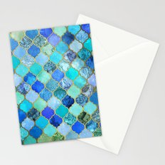 Cobalt Blue, Aqua & Gold Decorative Moroccan Tile Pattern Stationery Cards