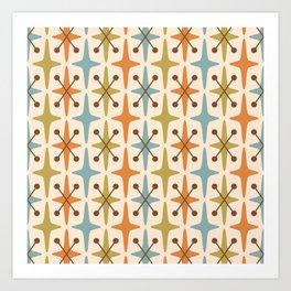 Mid Century Modern Abstract Star Pattern 441 Orange Brown Blue Olive Green Art Print