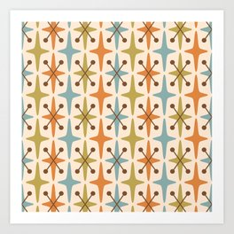 Mid Century Modern Abstract Star Pattern 441 Orange Brown Blue Olive Green Art Print