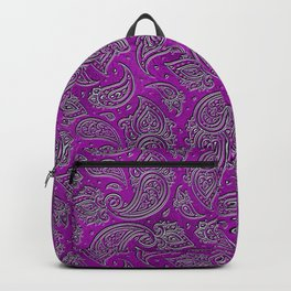 Silver embossed Paisley pattern on purple glass Backpack