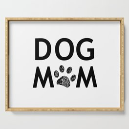 Black paw print with hearts. Dog mom text. Happy Mother's Day background Serving Tray