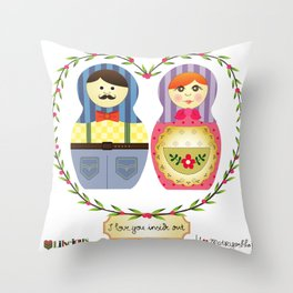 I {❤} Matryoshka Throw Pillow