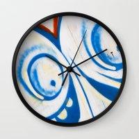 grafitti Wall Clocks featuring Grafitti Face by Leslie Philipp